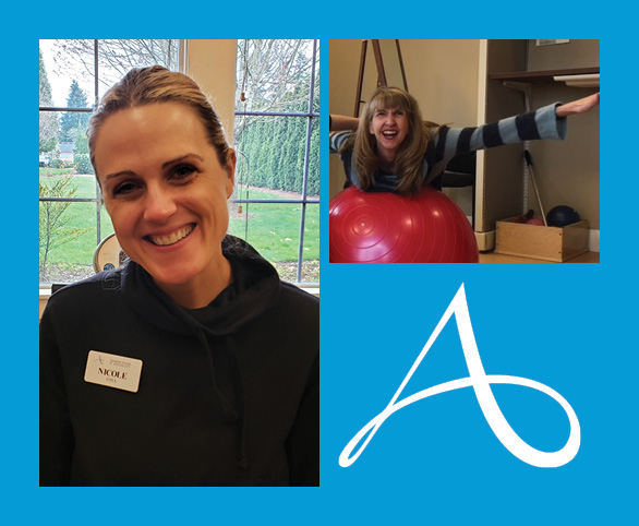 Avamere recognizes National OT Month, picture of two therapists and the Avamere logo