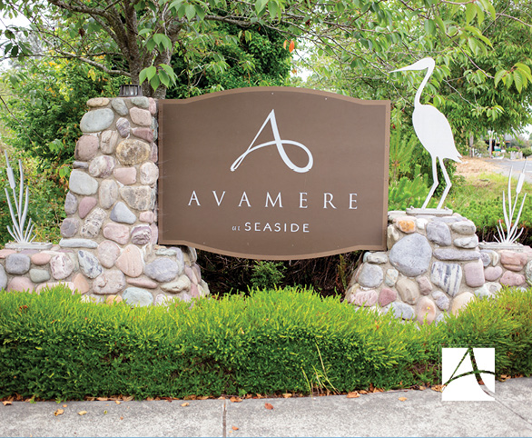Signage at the entrance to Avamere at Seaside in Seaside, Oregon