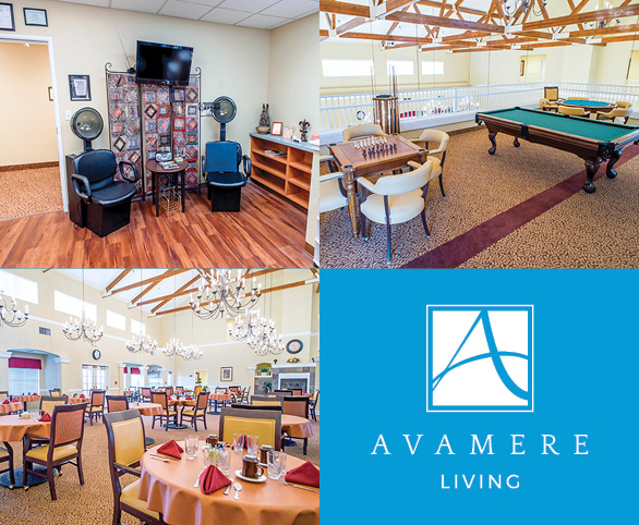 Avamere at Rio Rancho salon, pool table, and dining room