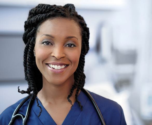 Nurse smiling with a stethoscope