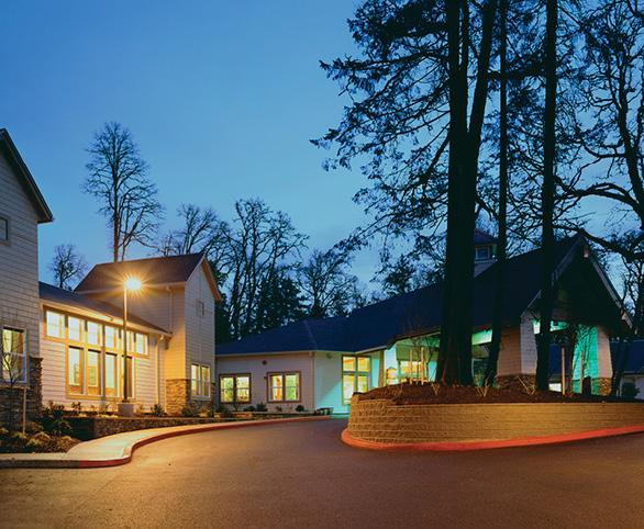 The Pearl at Kruse Way entrance at nighttime in Lake Oswego, Oregon