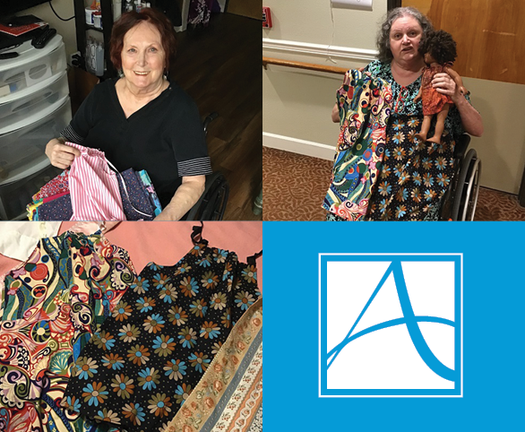 Residents volunteering their time and Making Dresses at Avamere at Park Place for girls in Africa