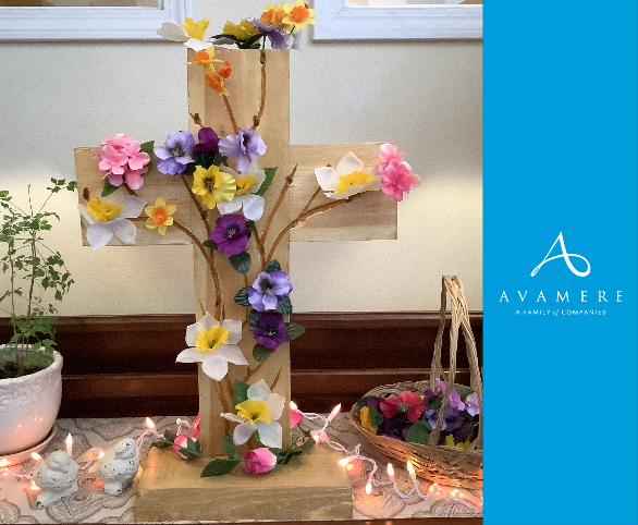 An Avamere at Sandy assisted living resident is a talented wood carver and created a special cross for Easter.