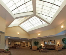 The beautiful lobby of Avamere Living at Berry Park in Oregon City, Oregon