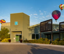 Entrance and hot air balloons of Avamere at Fiesta Park in Albuquerque, New Mexico