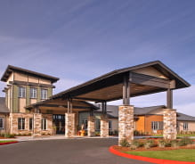 Entrance to The Arbor at Avamere Court memory care in Keizer, Oregon
